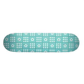 Pretty Teal Patchwork Quilt Pattern 21.6 Cm Old School Skateboard Deck