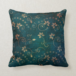 Pretty Teal Rose Gold Floral Vintage Design Throw Pillow