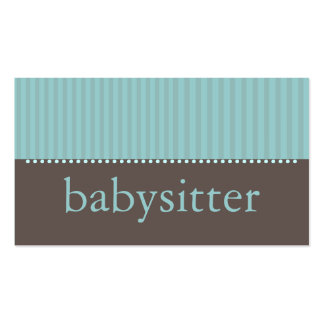 Pretty Teal Stripes Babysitting Business Card