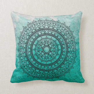 Pretty Teal Watercolor Bohemian Mandala Flower Art Cushion