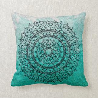 Pretty Teal Watercolor Bohemian Mandala Flower Art Throw Pillow