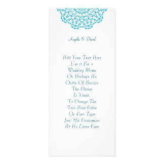 Pretty Teal White Lacy Pattern Peronalized Rack Cards