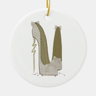 Pretty Things Wedding Stiletto Shoes Art Round Ceramic Decoration