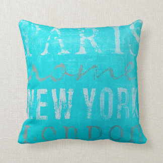 Pretty Throw Pillow: Paris, Rome, New York, London Cushion