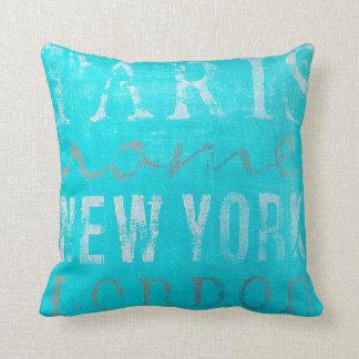 Pretty Throw Pillow: Paris, Rome, New York, London Throw Pillow