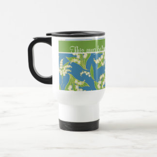 Pretty Travel Mug: Lilies of the Valley, Blue Travel Mug