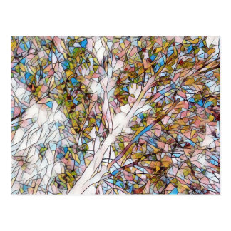 Pretty Tree Of Life Stained Glass Photomanipulatio Postcard