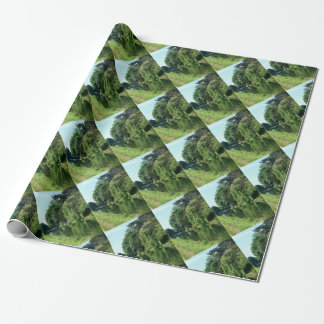 Pretty trees, river, water and green leaves wrapping paper