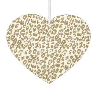Pretty trendy faux gold glitter leopard print car air freshener