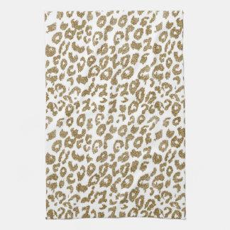 Pretty trendy faux gold glitter leopard print tea towel