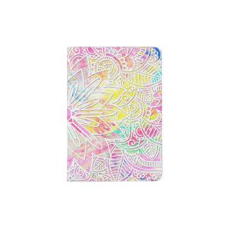 Pretty trendy floral hand drawn henna pattern passport holder