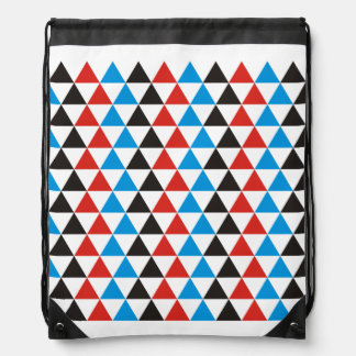Pretty Triangle pattern black red blue + your idea Drawstring Bag