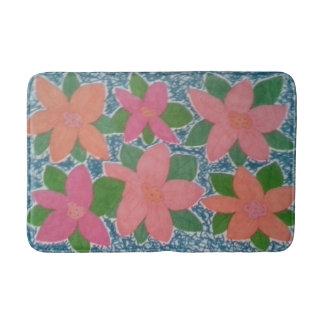 Pretty Tropical Flower Pattern Bath Mat Bath Mats