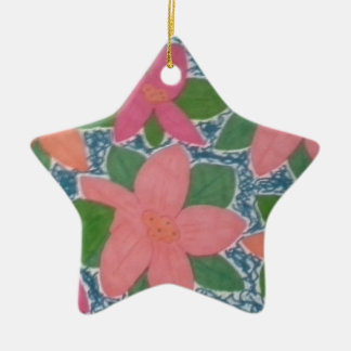 Pretty Tropical Flowers Hand-painted Pattern Ceramic Star Decoration