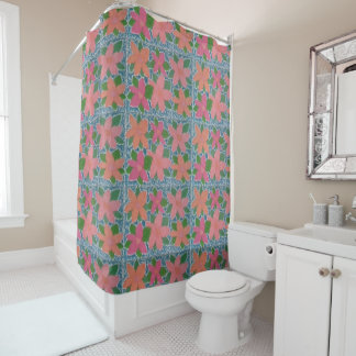 Pretty Tropical Flowers Shower Curtain