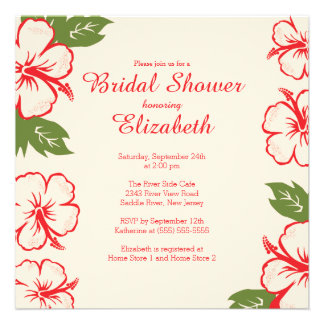 Pretty Tropical Hibiscus Bridal Shower Invitation Custom Invite