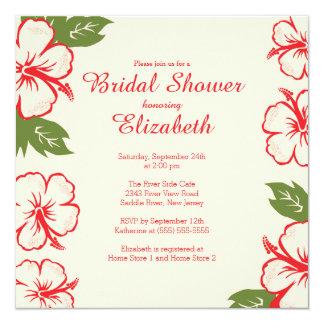 Pretty Tropical Hibiscus Bridal Shower Invitation
