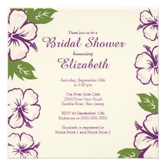 Pretty Tropical Hibiscus Bridal Shower Invitation Personalized Announcements
