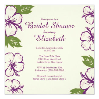Pretty Tropical Hibiscus Bridal Shower Invitation Personalized Announcements