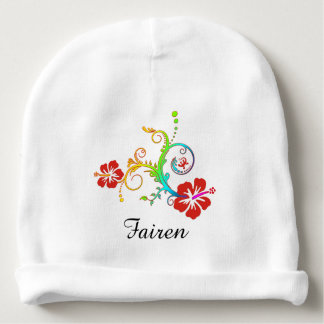 Pretty Tropical Hibiscus Decor colored Baby Beanie
