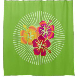 Pretty Tropical Hibiscus Trio + your background Shower Curtain