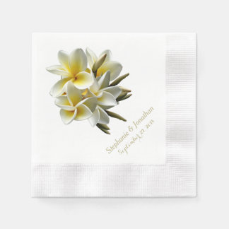 Pretty Tropical Plumeria Wedding Reception Napkins Disposable Napkin