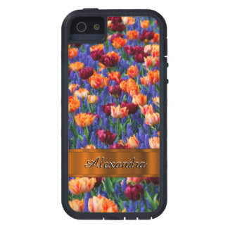 Pretty tulip flower field personalized iPhone 5 covers