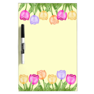 Pretty Tulip Flowers Dry Erase Board