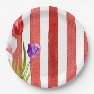 Pretty tulips and red stripes on paper plates