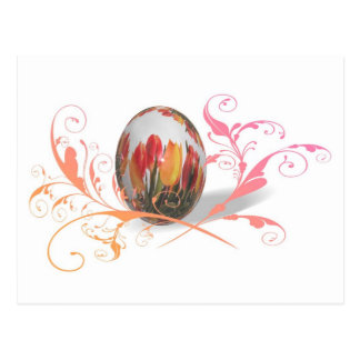 Pretty Tulips Easter Egg Postcard