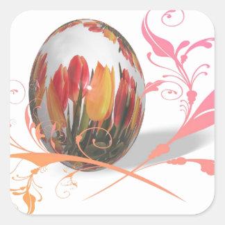 Pretty Tulips Easter Egg Square Sticker