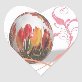 Pretty Tulips Easter Egg Heart Stickers