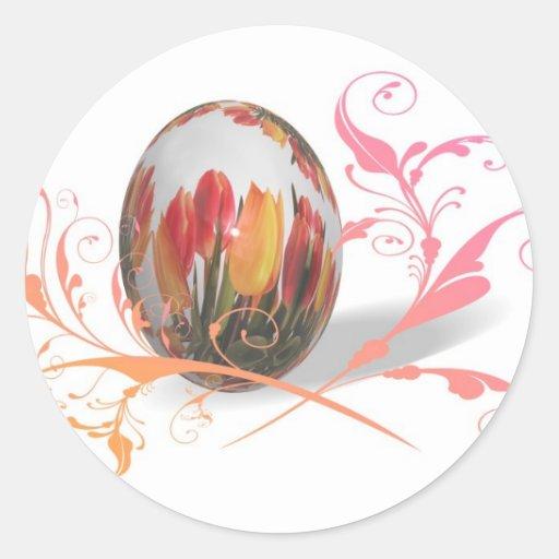 Pretty Tulips Easter Egg Sticker