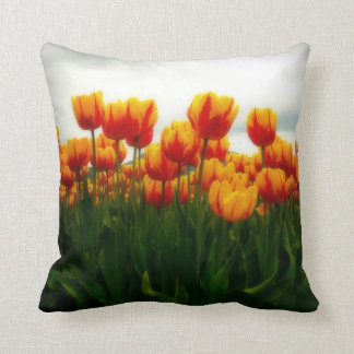 Pretty Tulips in Flower Field Throw Pillow