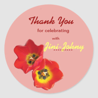 Pretty Tulips Thank You Reception Label Stickers