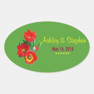 Pretty Tulips Wedding Favor Label Stickers