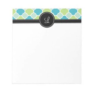 Pretty Turquoise and Green Quatrefoil Pattern Notepad