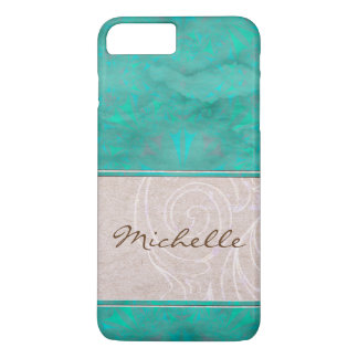 Pretty Turquoise and Parchment Watermark iPhone 7 Plus Case