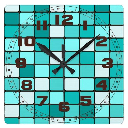 Pretty Turquoise Aqua Teal Mosaic Tile Pattern Square