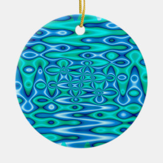 pretty turquoise blue art christmas ornament