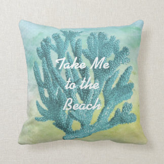 Pretty Turquoise Blue Coral Watercolor Beach Theme Cushion