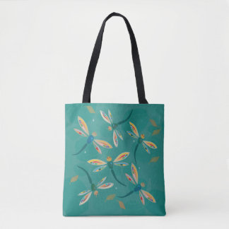 Pretty Turquoise Dragonflies on Pond Tote Bag