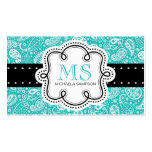 Pretty Turquoise Paisley Pattern Girl Calling Card Pack Of Standard Business Cards