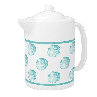 Pretty Turquoise Seashell Ceramic Coffee Pot