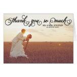 Pretty Typography Photo Wedding Thank You Card