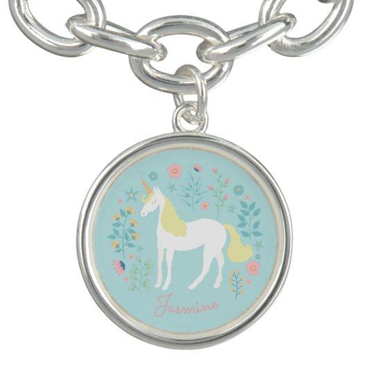 Pretty Unicorn & Flowers Aqua Personalised