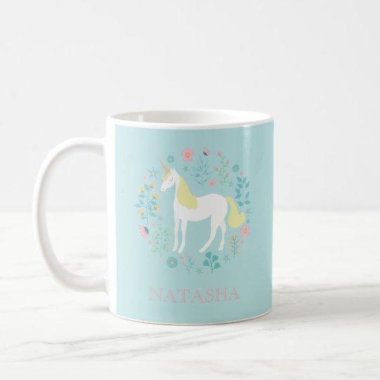 Pretty Unicorn & Flowers Aqua Personalised Coffee Mug