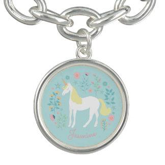 Pretty Unicorn & Flowers Aqua Personalized