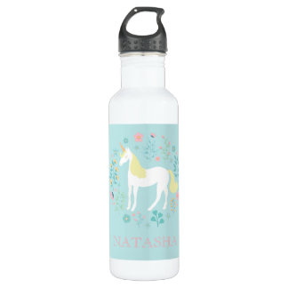 Pretty Unicorn & Flowers Aqua Personalized 710 Ml Water Bottle