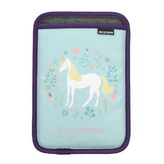 Pretty Unicorn & Flowers Aqua Personalized iPad Mini Sleeve